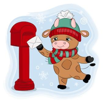 Cute cartoon bull un cappello invernale invia una lettera illustrazione disegnata a mano di vacanze di natale di capodanno