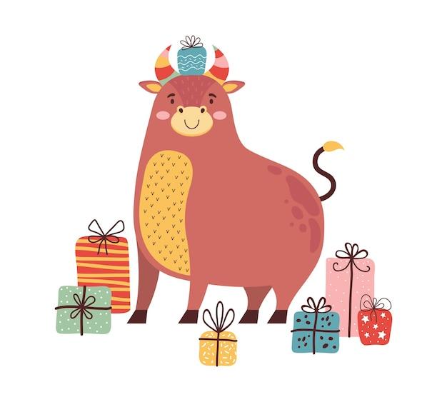 Toro simpatico cartone animato con un sacco di regali. simbolo del nuovo anno 2021. il bue felice festeggia il natale. carattere divertente della mucca. biglietto di auguri o banner per natale, capodanno, compleanno in stile scandinavo