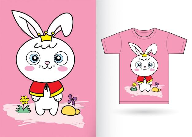 Coniglio coniglietto simpatico cartone animato per maglietta