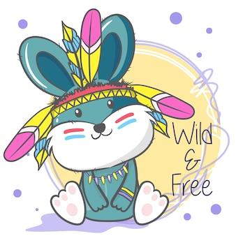 Coniglietto simpatico cartone animato con piume