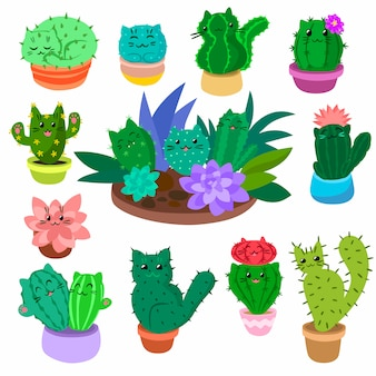 Il cactus e i succulenti svegli del fumetto hanno messo a disposizione l'illustrazione disegnata a mano dei cactus delle piante della natura isolata.