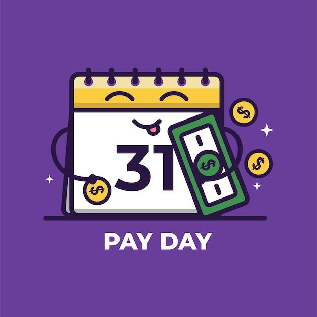 Calendario simpatico cartone animato con denaro pay day illustrazione vettoriale pagamento stipendio concept
