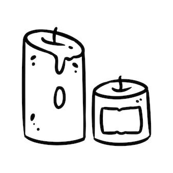 Candele simpatico cartone animato doodle immagine. logo del tempo hygge. media evidenzia il simbolo grafico