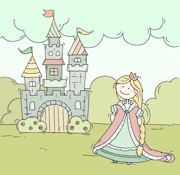 Castello di simpatico cartone animato per principe e principessa con torri e bandiere.