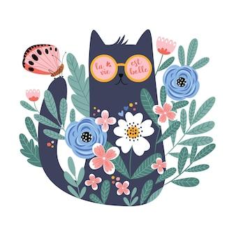 Gatto sveglio del fumetto in vetri con farfalla fiori disegnati a mano