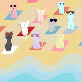 Gattino sveglio del gatto del fumetto sulla spiaggia