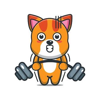 Simpatico cartone animato gatto sollevamento bilanciere