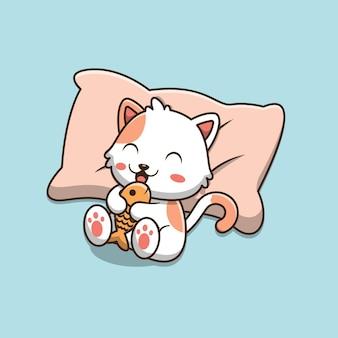 Gatto simpatico cartone animato sdraiato sul cuscino e tenendo il pesce