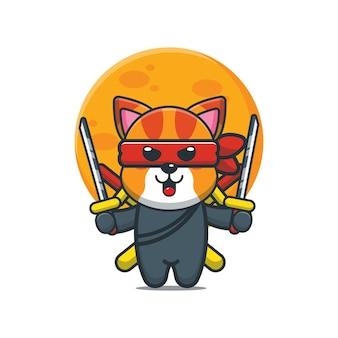 Simpatico cartone animato gatto ninja illustrazione vettoriale
