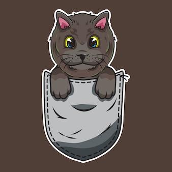 Gatto sveglio del fumetto in una tasca Vettore Premium