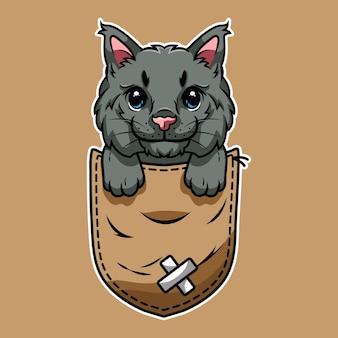 Gatto simpatico cartone animato in una tasca Vettore Premium