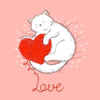 Gatto sveglio del fumetto con l'illustrazione lavorata a maglia del cuore