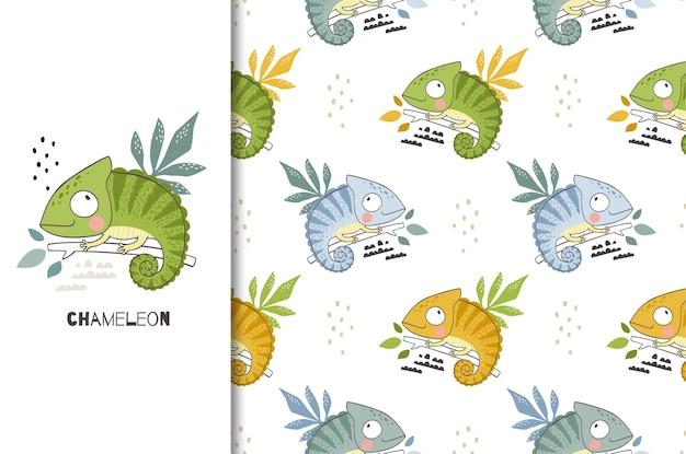 Carattere di camaleonte simpatico cartone animato.