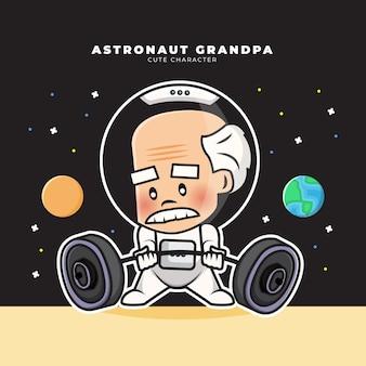 Simpatico personaggio dei cartoni animati dell'astronauta nonno sta sollevando un bilanciere