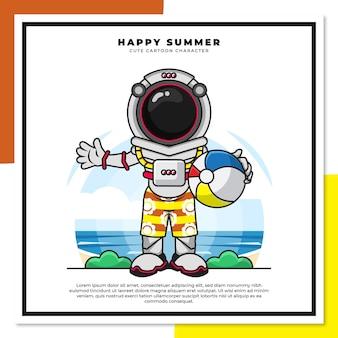 Simpatico personaggio dei cartoni animati dell'astronauta sta tenendo la palla sulla spiaggia con i saluti estivi felici