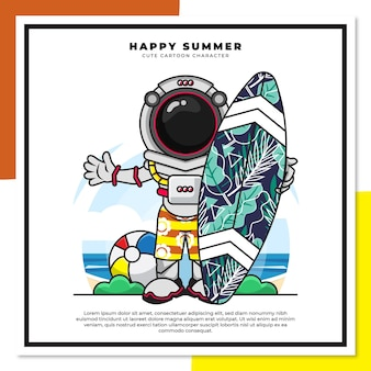 Simpatico personaggio dei cartoni animati dell'astronauta sta tenendo la tavola da surf sulla spiaggia con auguri di felice estate