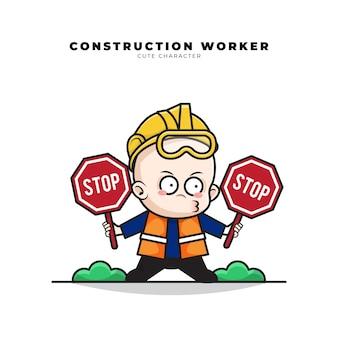 Simpatico personaggio dei cartoni animati del bambino operaio edile stava tenendo un segnale di stop in entrambe le mani