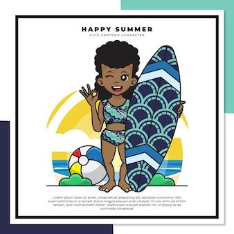 Simpatico personaggio dei cartoni animati della ragazza nera che tiene tavola da surf sulla spiaggia con auguri di felice estate