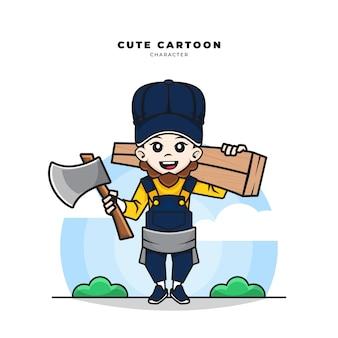 Simpatico personaggio dei cartoni animati dell'operaio falegname stava imbracciando legno e tenendo in mano un'ascia