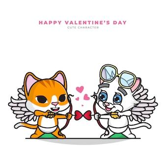 Simpatico personaggio dei cartoni animati di coppia gatto cupido e felice giorno di san valentino