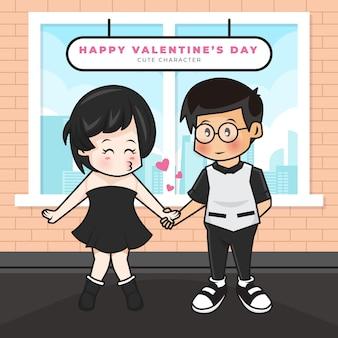 Simpatico personaggio dei cartoni animati di coppia adolescente e saluti di san valentino