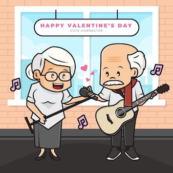 Simpatico personaggio dei cartoni animati di coppia di anziani che canta e suona la chitarra e auguri di buon san valentino