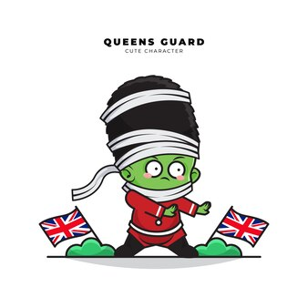 Simpatico personaggio dei cartoni animati del ruolo di guardia delle regine inglesi come mummia