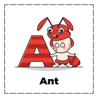 Carattere sveglio del fumetto della lettera iniziale a con il bambino che indossa il costume della formica