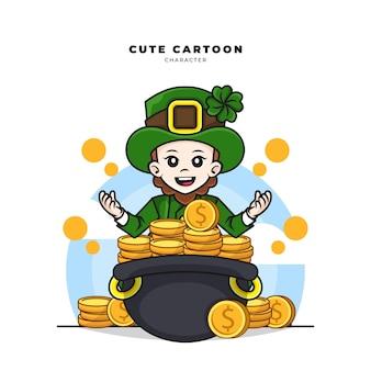 Simpatico personaggio dei cartoni animati del leprechaun concetto di giorno di san patrizio con sacco di monete