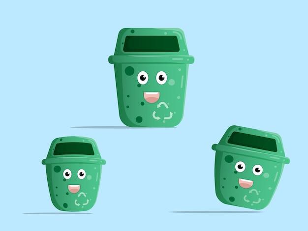 Cestino del personaggio dei cartoni animati sveglio, illustrazione di design piatto del cestino