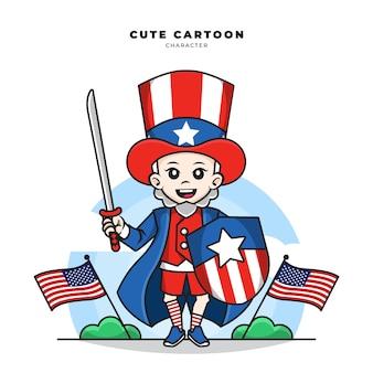 Simpatico personaggio dei cartoni animati dello zio sam che brandisce una spada e uno scudo americani