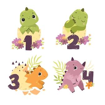 Simpatici personaggi dei cartoni animati uova di dinosauro carino