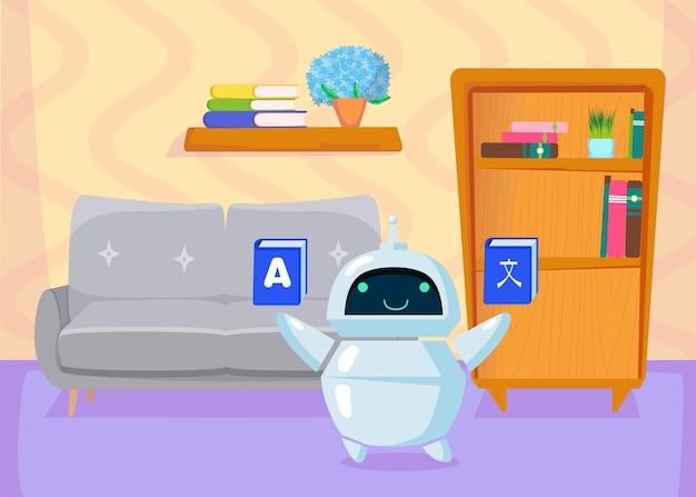 Chatbot simpatico cartone animato che insegna lingue straniere, traducendo. illustrazione piatta.