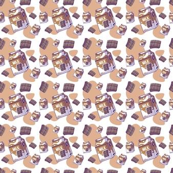 Simpatico cartone animato cioccolato con reticolo senza giunte di latte