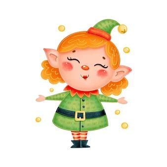 Ragazza elfo di natale simpatico cartone animato