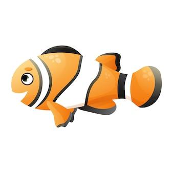 Illustrazione di pesce pagliaccio simpatico cartone animato