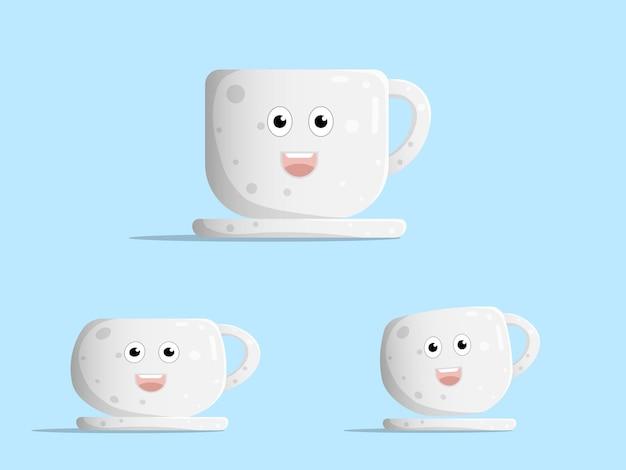 Cartoon carino tazza di caffè carattere design piatto illustrazione