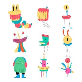 Set di caratteri di mostri comici simpatico cartone animato isolato su priorità bassa bianca