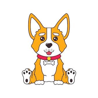 Cucciolo di cane corgi simpatico cartone animato seduto e sorridente con adesivo fumetti lingua fuori