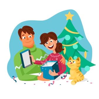 Coppia simpatico cartone animato uomo e donna che apre i regali di natale