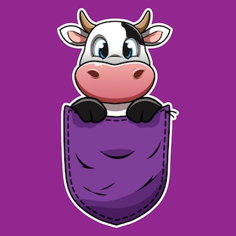 Mucca simpatico cartone animato in una tasca Vettore Premium