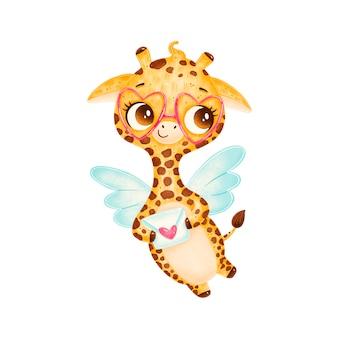 Simpatico cartone animato cupido giraffa isolata. animali di san valentino.
