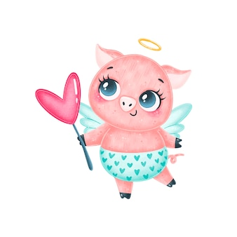 Maiale cupido simpatico cartone animato isolato. animali di san valentino.