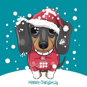 Bassotto simpatico cartone animato con stile natalizio
