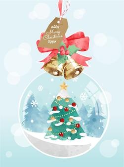 Simpatico cartone animato decorato albero di natale nell'illustrazione della palla di neve