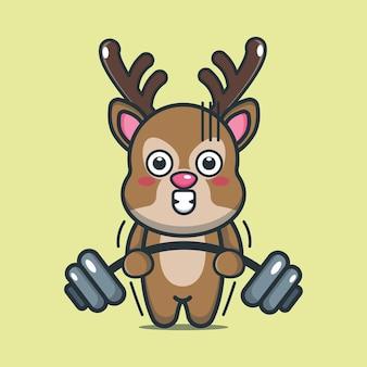 Simpatico cartone animato cervo sollevamento bilanciere