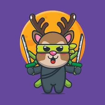 Simpatico cartone animato cervo ninja illustrazione vettoriale