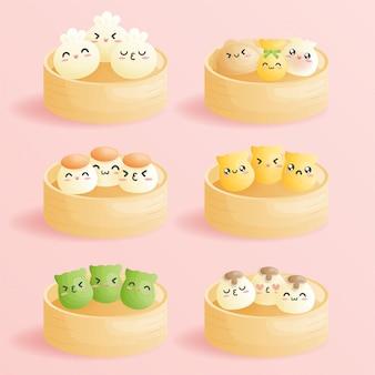 Simpatico cartone animato dim sum, gnocchi cinesi tradizionali, con faccine sorridenti di emoticon. illustrazione di cibo asiatico carino.