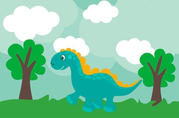 Dino simpatico cartone animato in stile piatto all'aperto. dinosauro blu in natura. animale del bambino.