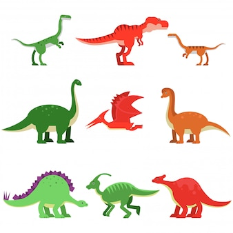 Simpatici animali del dinosauro del fumetto impostati, illustrazioni colorate mostro preistorico e giurassico